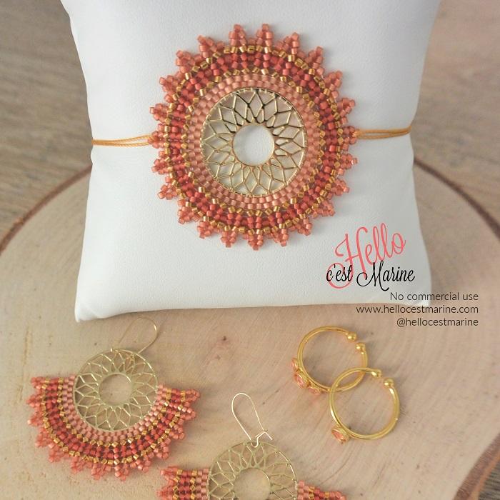 Bracelet mandala doré et rose tissé en perles Miyuki delica par Hello c'est Marine