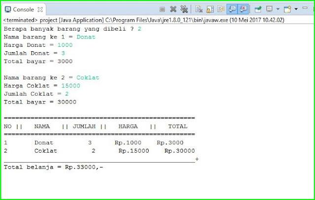 Program Penjualan pada JAVA Menggunakan Looping dan Array