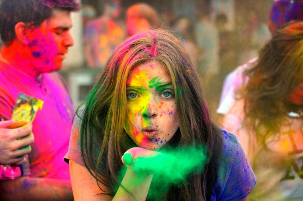 Girl Playing With Gulal Holi Image