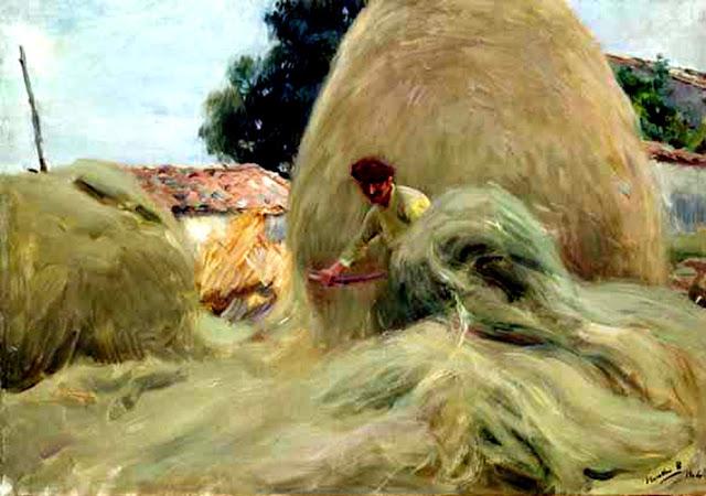 Amontonando el heno, Paisaje de Asturias, Joaquín Sorolla y Bastida, Joaquín Sorolla, Paisajes de Joaquín Sorolla, Impresionismo Valenciano, Joaquín Sorolla Bastida