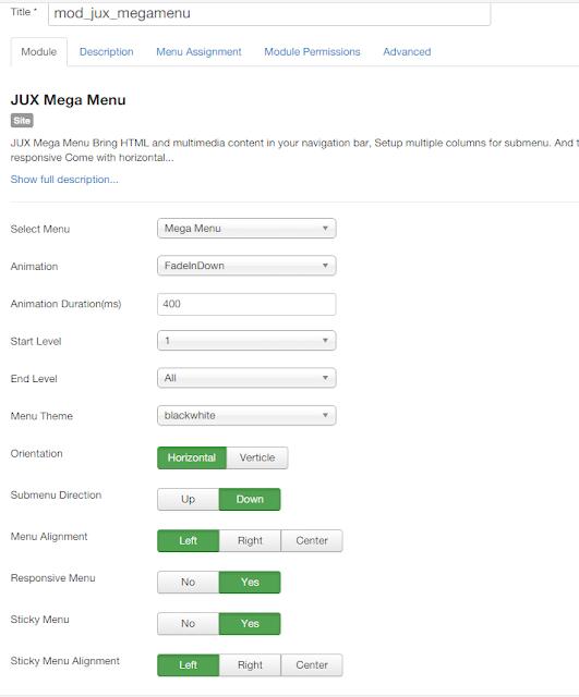 Joomla Mega Menu configuration guide