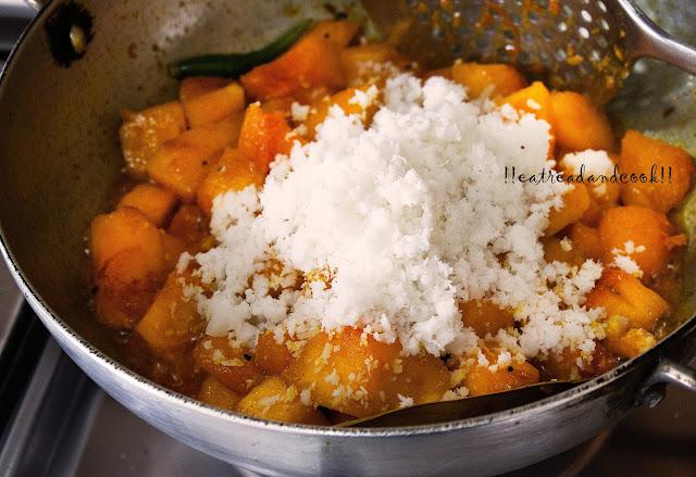 pumpkin with coconut bengali recipe