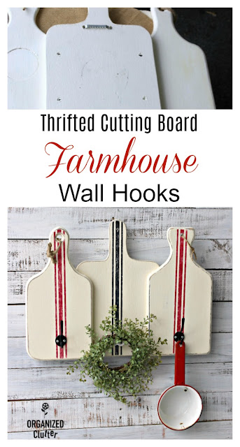Repurposed Cutting Boards As Wall Hooks #thriftshopmakeover #grainstripe #oldsignstencils #stencil #farmhousedecor #farmhousekitchen