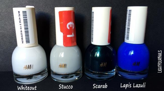 H&M smalti Whiteout, Stucco. Scarab, Lapis Lazuli nail polish