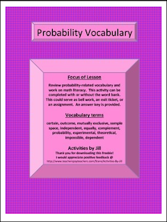 "... : FREE MATH LESSON - ""Probability Terms Worksheet with Word Bank"
