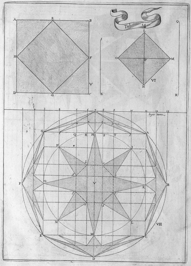 line drawing engraving of geoprojection perspectives
