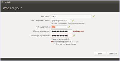 Mengisi Detail Pengguna Ubuntu