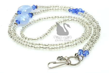 Blue Heart Spay Neuter Awareness Beaded Lanyard (L04)