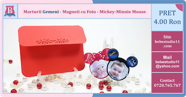 marturii gemeni magneti de frigider personalizati cu fotografie mickey-minnie taiati pe contur