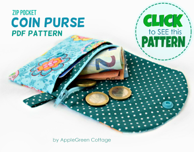 pattern for coin purse with zipper and flap