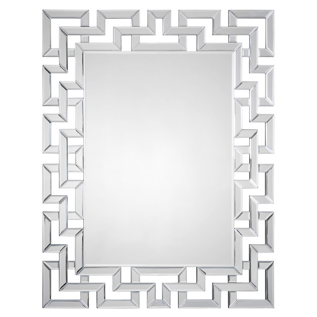 Copy Cat Chic Zinc Door Mirrored Greek Key Mirror