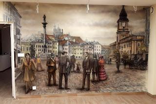 Malowidło ścienne przedstawiające Plac Zygmunta, Malowanie obrazu na ścianie w salonie Warszawa