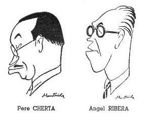 Caricaturas de Ángel Ribera y Pedro Cherta dibujadas por Joaquim Muntañola