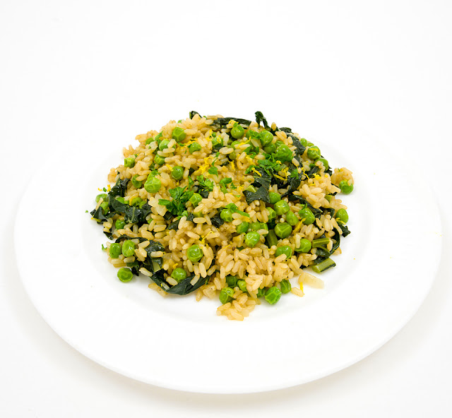 Risoto with kale and peas recipe