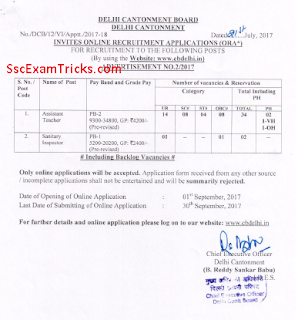 Delhi Cantonment Board Assistant Teacher Sanitary Inspector Recruitment