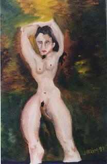 Desnudo femeninoal oleo sobre carton autor Jorge Marín