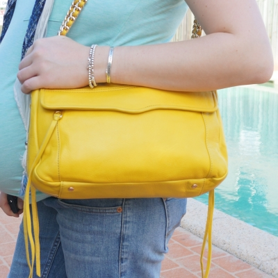 AwayFromTheBlue | Blue green yellow outfit with Rebecca Minkoff Swing bag