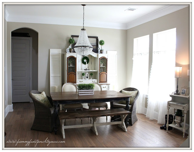 French Country Farmhouse Dining Room-Suburban Farmhouse-Wicker Chairs-French Famrhouse-From My Front Porch To Yours