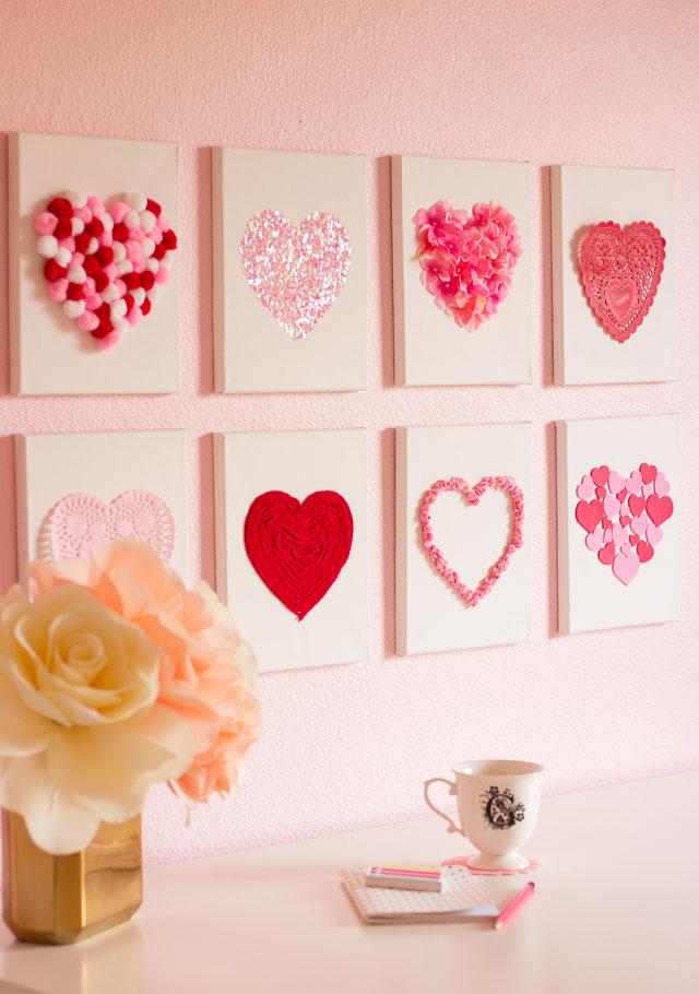 Valentine S Day Diy Canvas Heart Art Design Improvised
