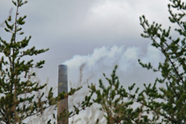 Smoke spews from the Sudbury Superstack.