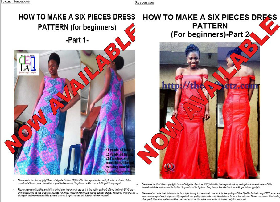 HOW TO MAKE SIX PIECES DRESS & OFF SHOULDER BLOUSE PATTERNS NOW AVAILABLE
