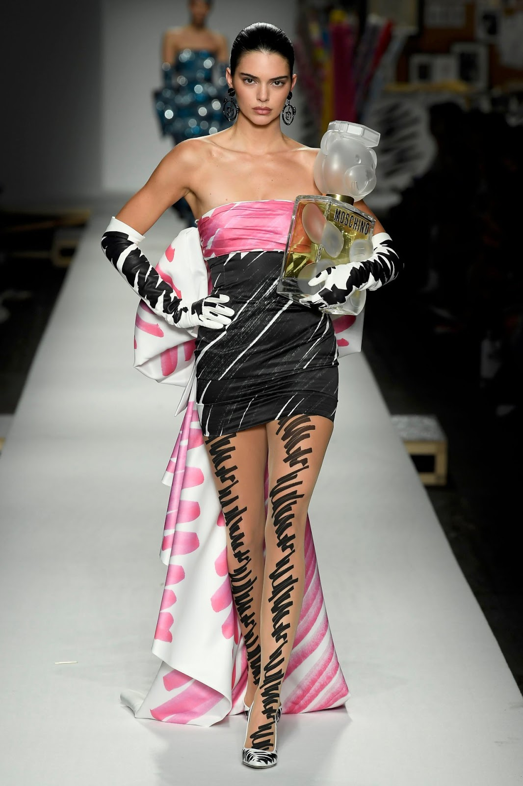 Kendall Jenner Walked the Moschino Runway in a Scribble Gown
