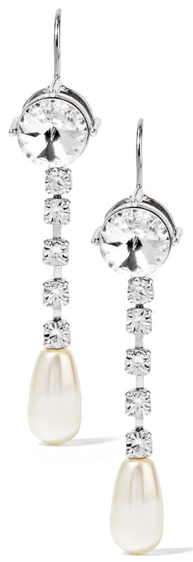 MIU MIU Silver-tone, Crystal and Faux Pearl Earrings