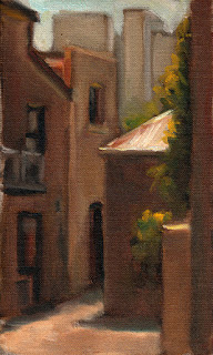Oil painting of buildings clustered around a small alleyway with high-rise buildings in the distance.