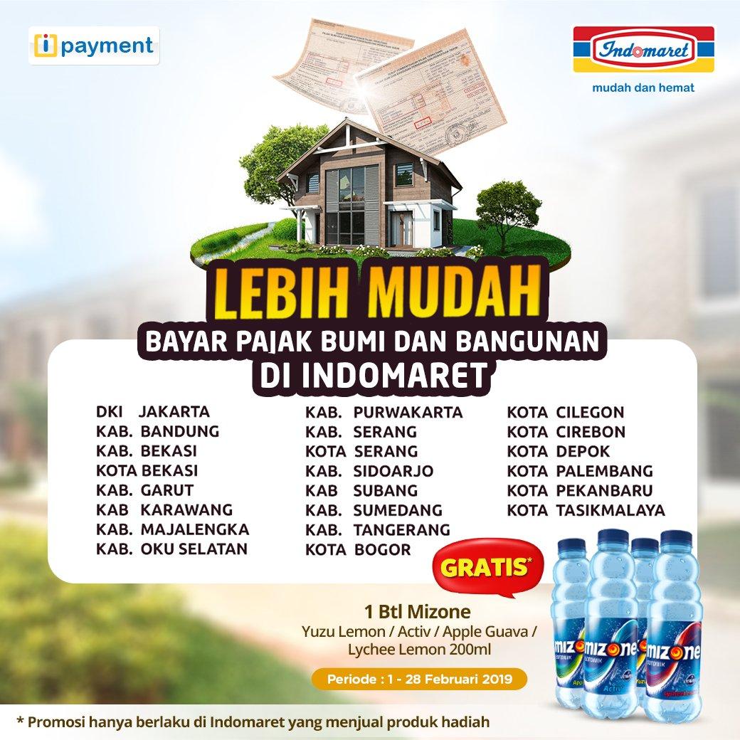 #Indomaret - #Promo Bayar PBB Gratis Minuman Mizone 200 ml (s.d 28 Feb 2019)