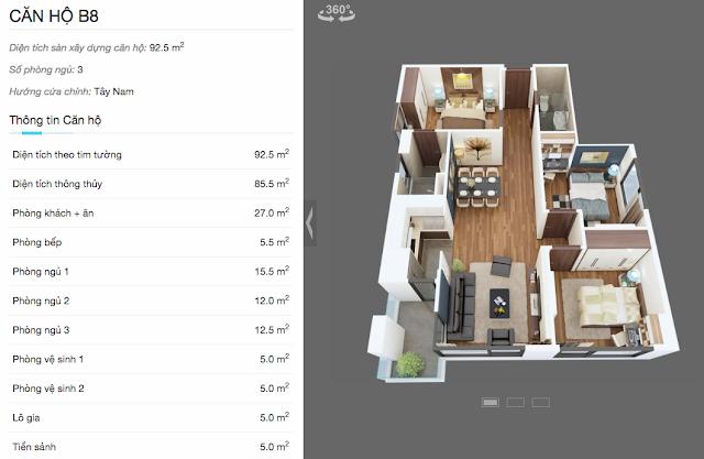 Thiết kế căn B8 chung cư The Legend
