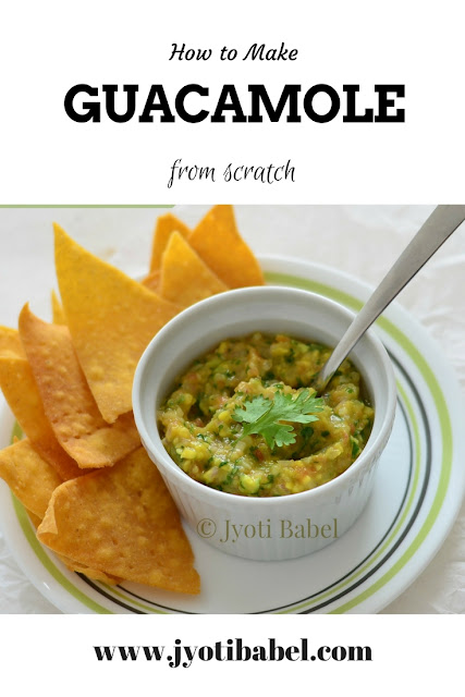 Guacamole is a Mexican dip made with ripe Avocados. When the mashed chunks of Avocados are mixed with minced onion, tomato, chopped coriander, seasoning and lemon juice, you get this delicious Mexican dip that is a must-serve in any Mexican meal. Find the recipe at www.jyotibabel.com
