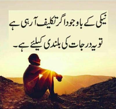 Best Quotes in Urdu images | UrduDiaryClub - Neaki k bawajod ager takleef aa rahi hai tu yeh darjaat ki balandi k lia hai