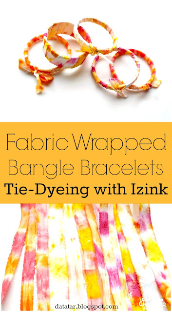 Izink Tie-Dyed Fabric Wrapped Bangle Bracelts Tutorial by Dana Tatar