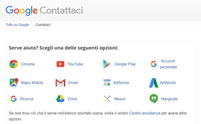 google-contattaci