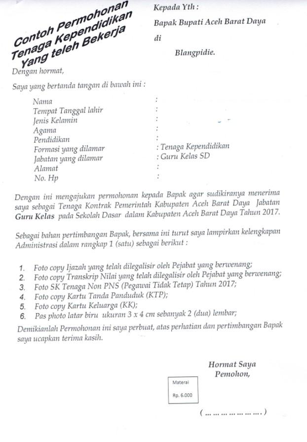 Contoh Surat Lamaran Kerja Tenaga Pendidikan