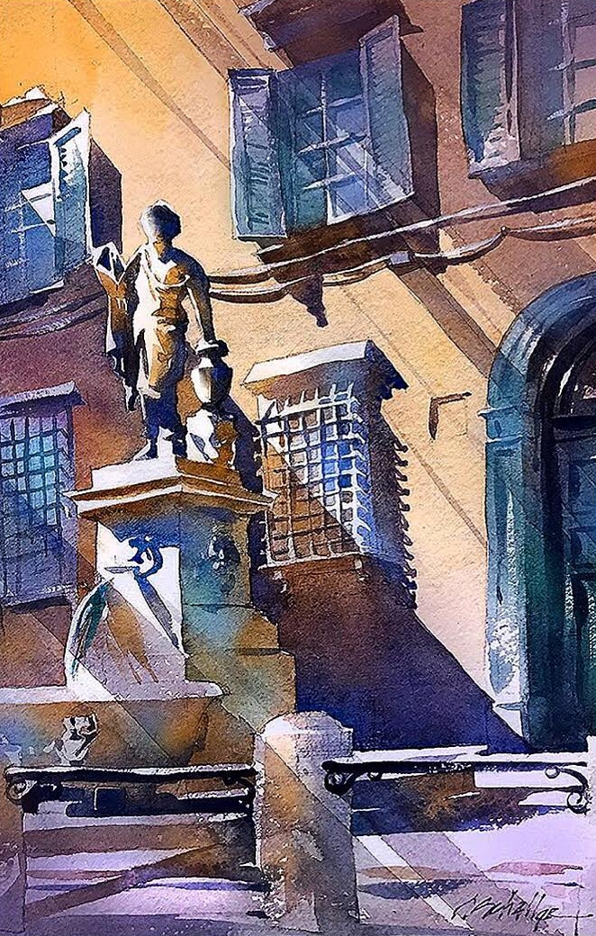 08-Piazza-San-Salvatore-Italy-Thomas-Schaller-Watercolor-Paintings-Indoors-and-Outdoors-www-designstack-co