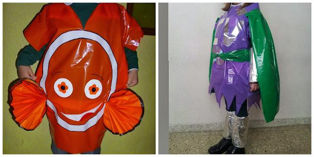 disfraz de pez con bolsa de basura