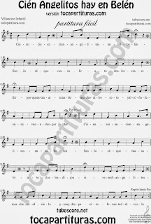 Partitura fácil de Voz y Flauta dulce o de Pico del villancico infantil Cien Angelitos, recomendado para cantar en educación musical  infantil y primaria especialmente Children Carol Christmas Easy Sheet Music for Voice and Recorder Music Scores