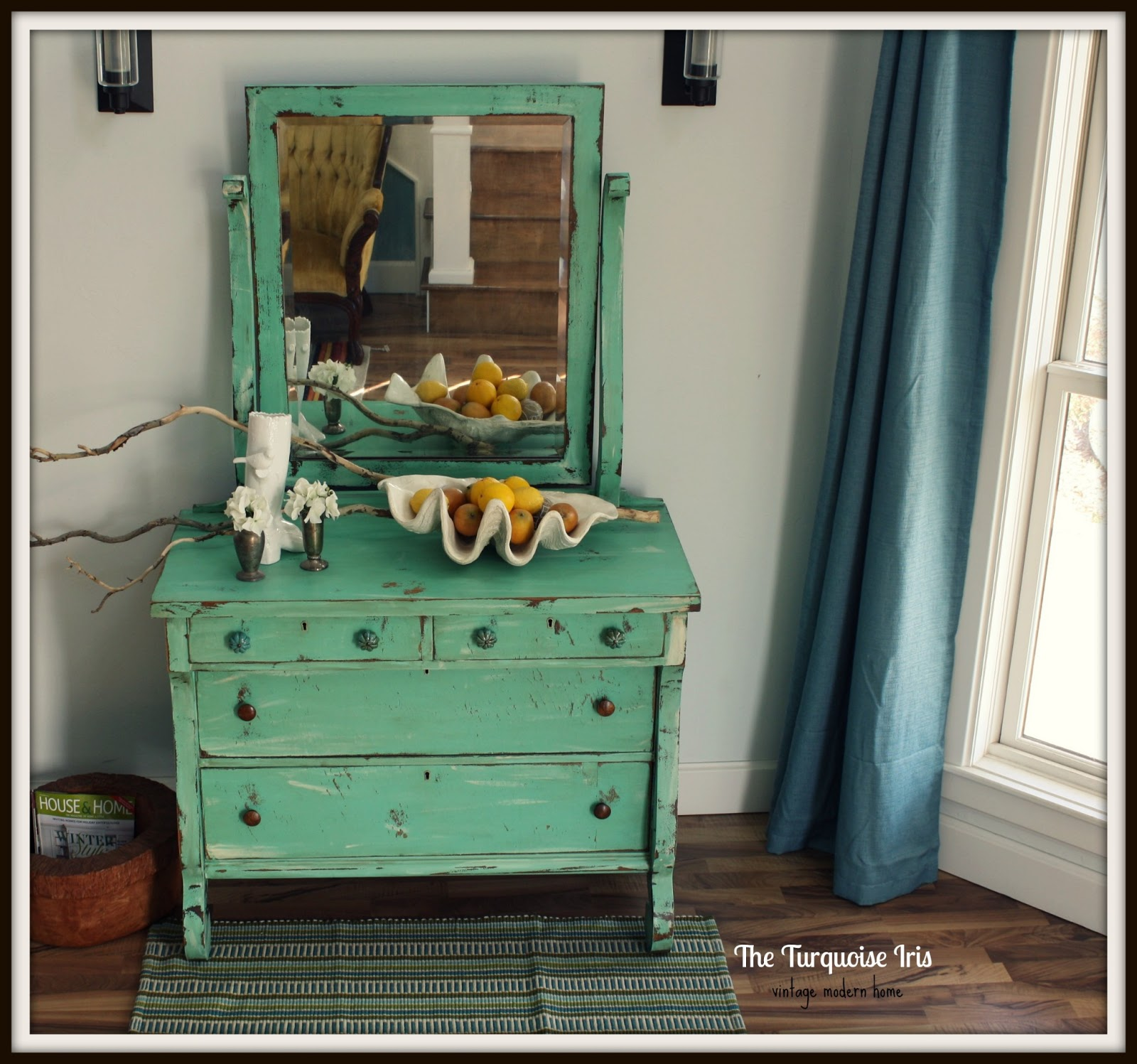 The turquoise iris furniture art mint green antique for Mint green furniture paint