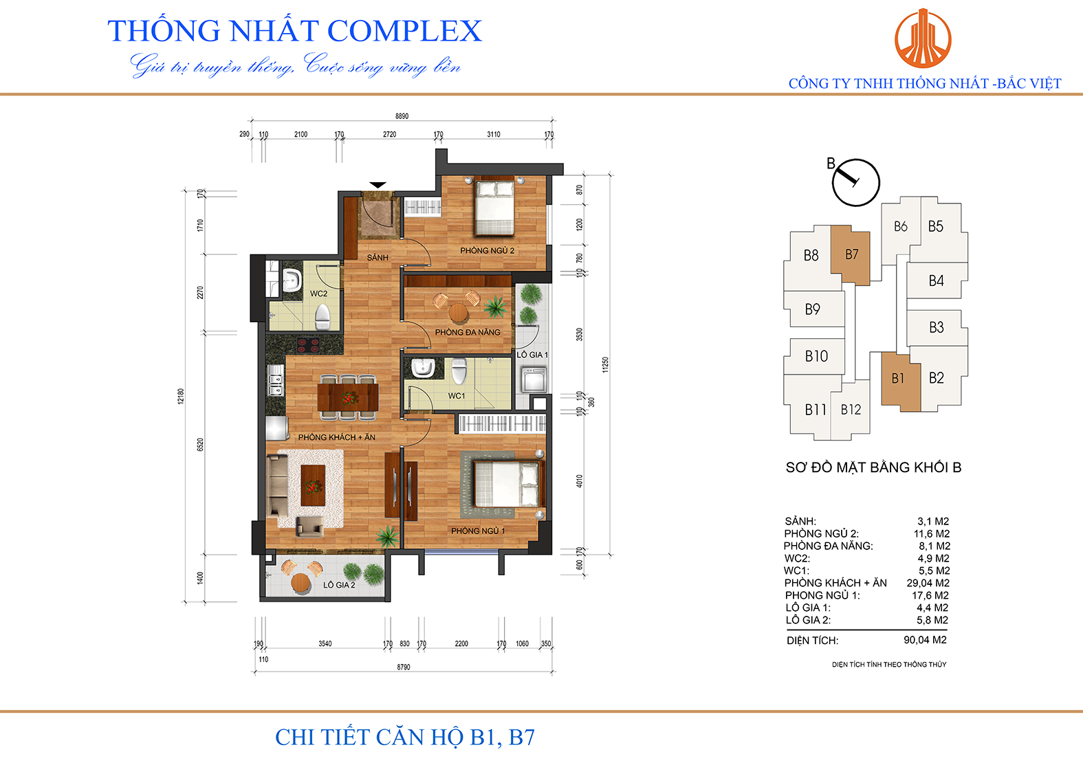 Thiết kế mặt bằng chi tiết căn hộ 90m2 Thống Nhất Complex