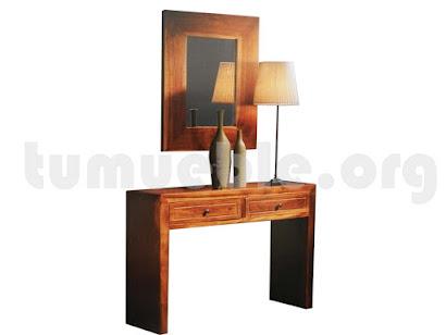 consola 2 cajones con espejo en teca 4130+4129
