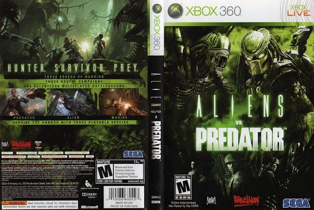 Capa xBox360 Aliens vs Predator