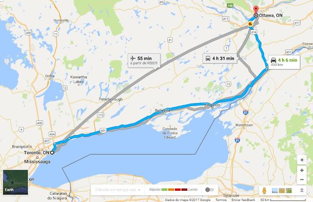 Viagem de carro de Toronto a Ottawa