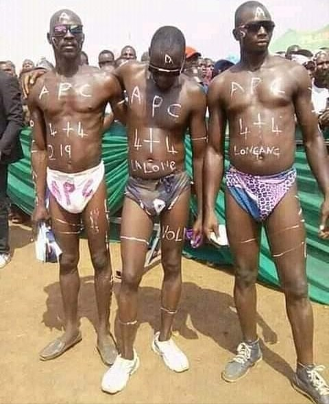 Men strips at the APC campaign ground