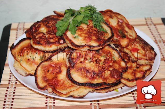 рецепт Оладьи с ветчиной, помидорами и болгарским перцем