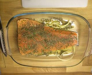 Baked salmon in the Mediterranean