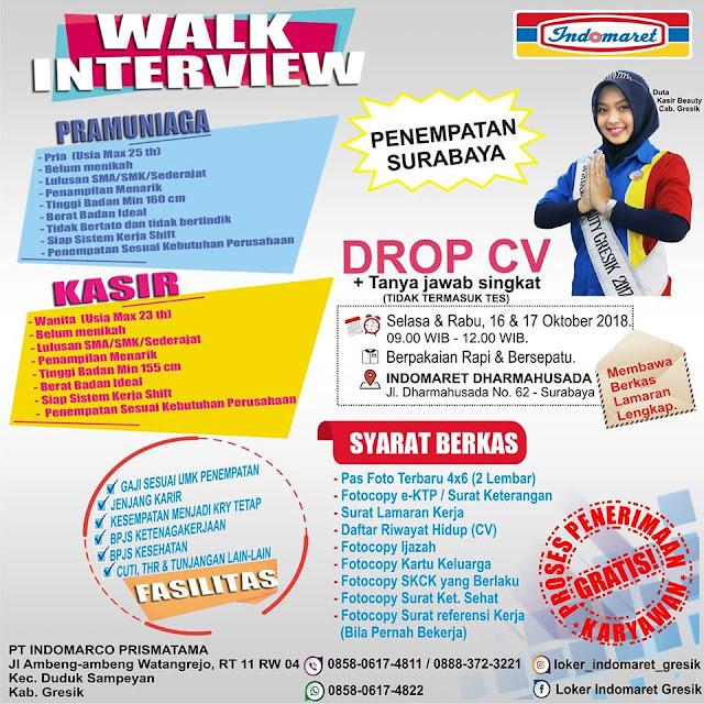 Lowongan Kerja Pramuniaga dan Kasir Indomart Surabaya