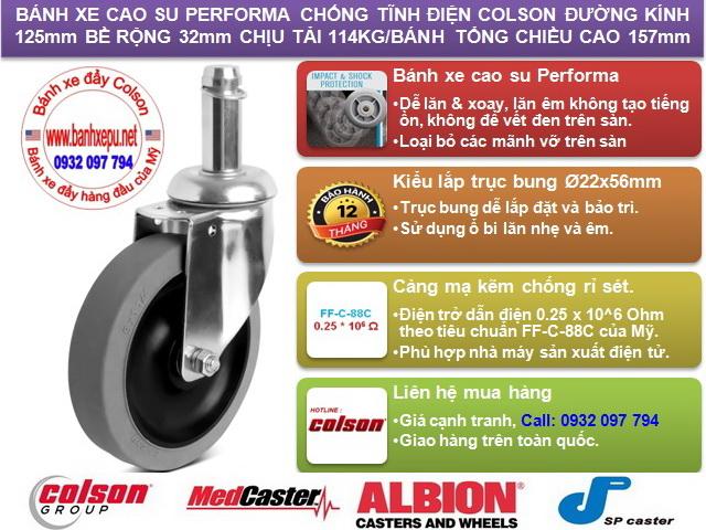 Bánh xe cao su chống tĩnh điện Colson Mỹ trục trơn phi 125 (5 inch) www.banhxedaycolson.com
