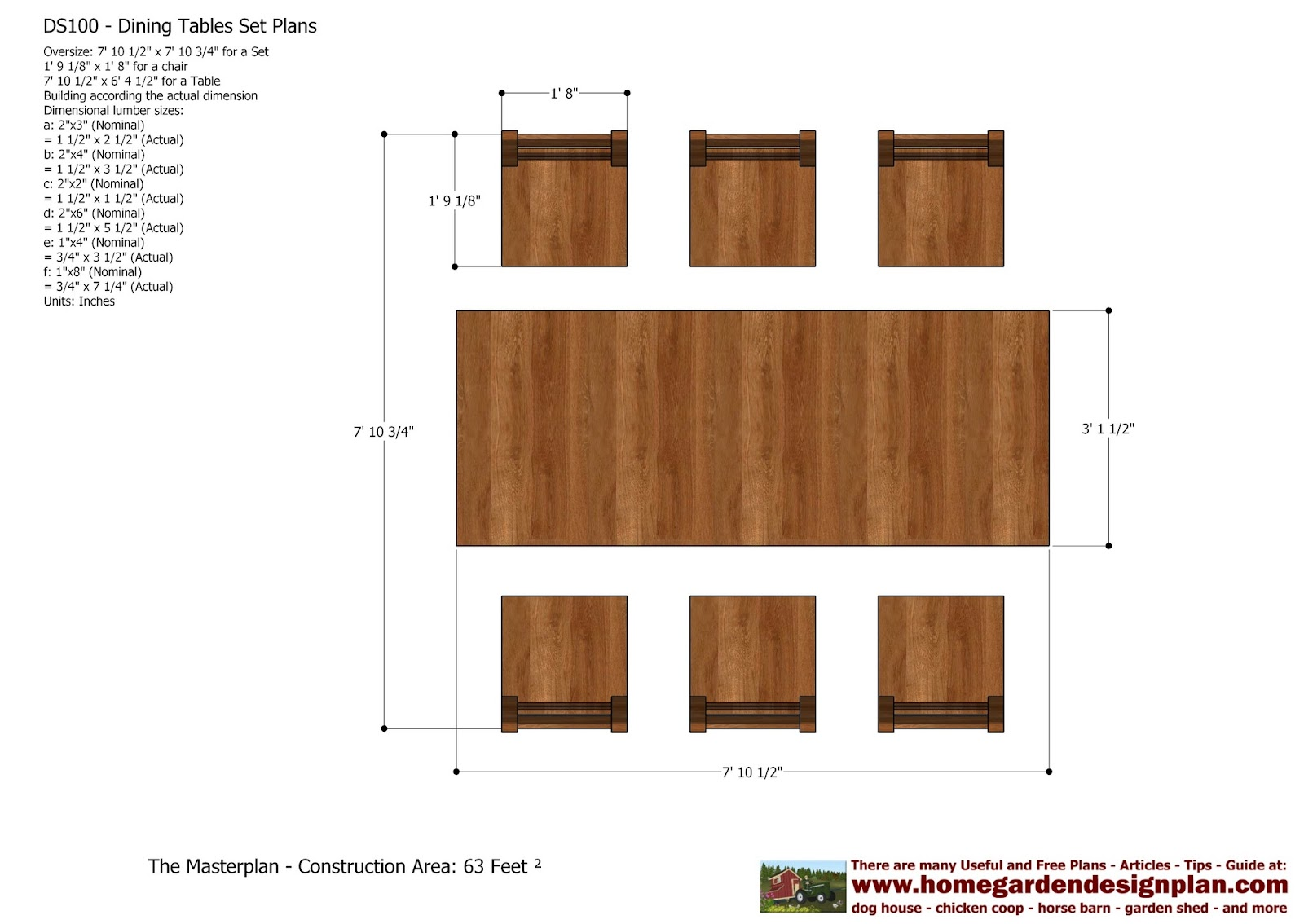 Home Garden Plans Ds100 Dining Table Set Plans