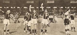Il Bologna saluta il pubblico al termine della finale contro il Chelsea.